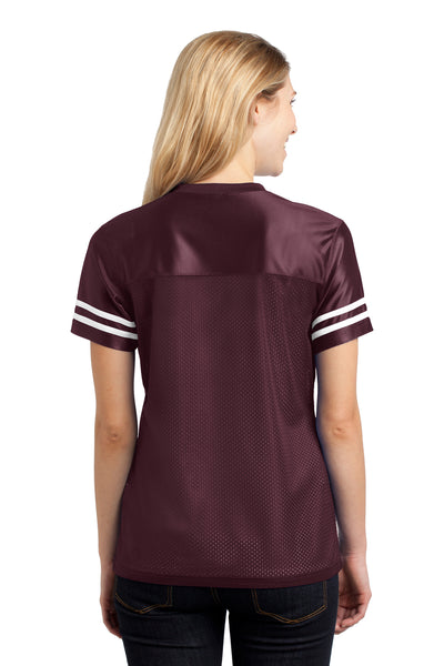 Sport-Tek LST307 Womens Short Sleeve V-Neck T-Shirt Maroon Back