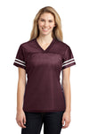 Sport-Tek LST307 Womens Short Sleeve V-Neck T-Shirt Maroon Front