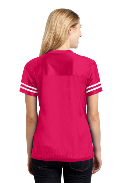 Sport-Tek LST307 Womens Short Sleeve V-Neck T-Shirt Fuchsia Pink Back