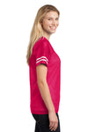 Sport-Tek LST307 Womens Short Sleeve V-Neck T-Shirt Fuchsia Pink Side