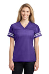 Sport-Tek LST307 Womens Short Sleeve V-Neck T-Shirt Purple Front