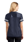 Sport-Tek LST307 Womens Short Sleeve V-Neck T-Shirt Navy Blue Back