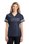 Sport-Tek LST307 Womens Short Sleeve V-Neck T-Shirt Navy Blue Front