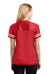 Sport-Tek LST307 Womens Short Sleeve V-Neck T-Shirt Red Back