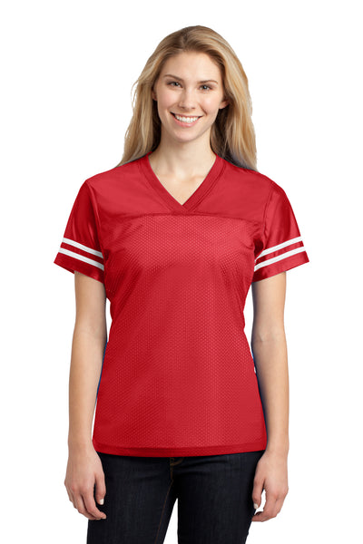 Sport-Tek LST307 Womens Short Sleeve V-Neck T-Shirt Red Front
