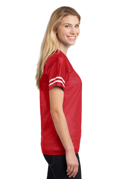 Sport-Tek LST307 Womens Short Sleeve V-Neck T-Shirt Red Side