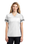 Sport-Tek LST307 Womens Short Sleeve V-Neck T-Shirt White Front