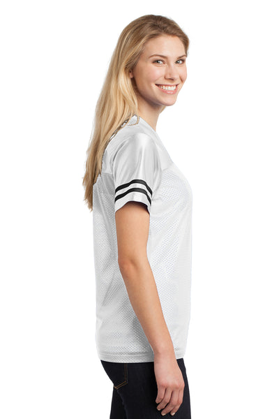 Sport-Tek LST307 Womens Short Sleeve V-Neck T-Shirt White Side