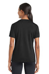 Sport-Tek LST340 Womens RacerMesh Moisture Wicking Short Sleeve V-Neck T-Shirt Black Back
