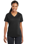 Sport-Tek LST340 Womens RacerMesh Moisture Wicking Short Sleeve V-Neck T-Shirt Black Front
