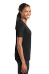 Sport-Tek LST340 Womens RacerMesh Moisture Wicking Short Sleeve V-Neck T-Shirt Black Side