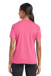 Sport-Tek LST340 Womens RacerMesh Moisture Wicking Short Sleeve V-Neck T-Shirt Pink Back