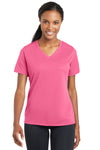Sport-Tek LST340 Womens RacerMesh Moisture Wicking Short Sleeve V-Neck T-Shirt Pink Front