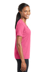 Sport-Tek LST340 Womens RacerMesh Moisture Wicking Short Sleeve V-Neck T-Shirt Pink Side