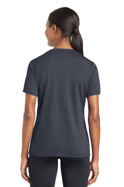 Sport-Tek LST340 Womens RacerMesh Moisture Wicking Short Sleeve V-Neck T-Shirt Graphite Grey Back