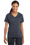 Sport-Tek LST340 Womens RacerMesh Moisture Wicking Short Sleeve V-Neck T-Shirt Graphite Grey Front