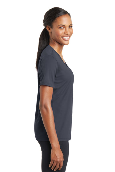 Sport-Tek LST340 Womens RacerMesh Moisture Wicking Short Sleeve V-Neck T-Shirt Graphite Grey Side