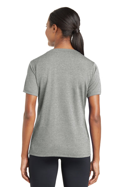 Sport-Tek LST340 Womens RacerMesh Moisture Wicking Short Sleeve V-Neck T-Shirt Heather Grey Back