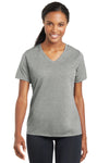 Sport-Tek LST340 Womens RacerMesh Moisture Wicking Short Sleeve V-Neck T-Shirt Heather Grey Front