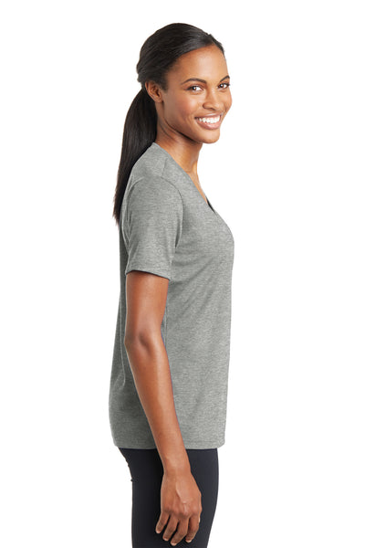 Sport-Tek LST340 Womens RacerMesh Moisture Wicking Short Sleeve V-Neck T-Shirt Heather Grey Side