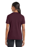Sport-Tek LST340 Womens RacerMesh Moisture Wicking Short Sleeve V-Neck T-Shirt Maroon Back