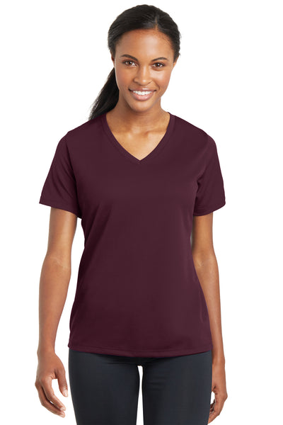 Sport-Tek LST340 Womens RacerMesh Moisture Wicking Short Sleeve V-Neck T-Shirt Maroon Front