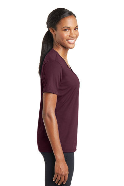 Sport-Tek LST340 Womens RacerMesh Moisture Wicking Short Sleeve V-Neck T-Shirt Maroon Side