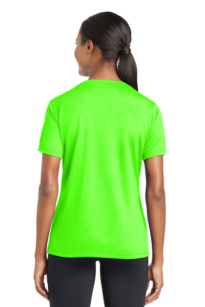 Sport-Tek LST340 Womens RacerMesh Moisture Wicking Short Sleeve V-Neck T-Shirt Neon Green Back