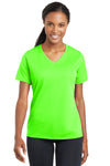 Sport-Tek LST340 Womens RacerMesh Moisture Wicking Short Sleeve V-Neck T-Shirt Neon Green Front