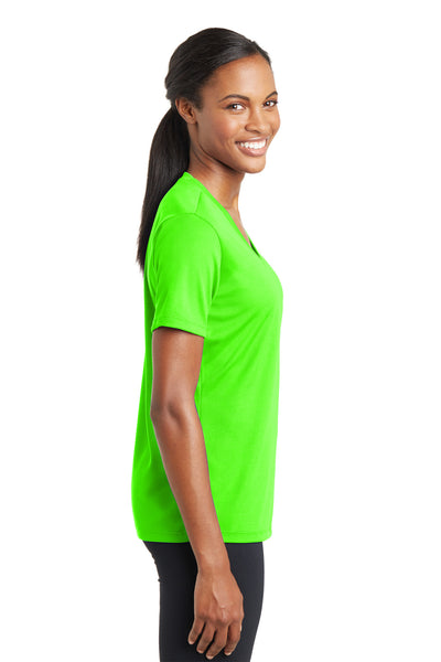 Sport-Tek LST340 Womens RacerMesh Moisture Wicking Short Sleeve V-Neck T-Shirt Neon Green Side