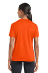Sport-Tek LST340 Womens RacerMesh Moisture Wicking Short Sleeve V-Neck T-Shirt Neon Orange Back
