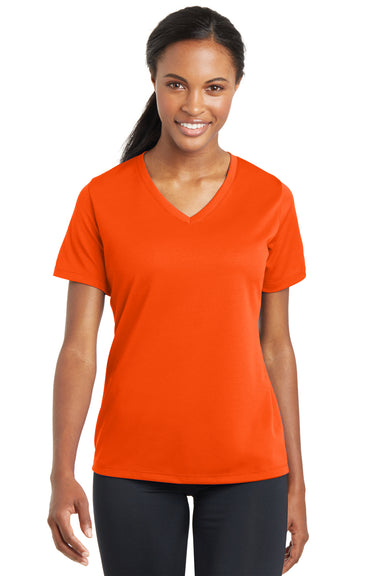 Sport-Tek LST340 Womens RacerMesh Moisture Wicking Short Sleeve V-Neck T-Shirt Neon Orange Front