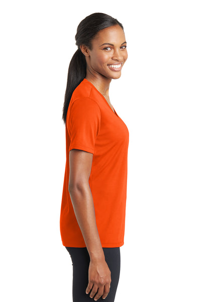 Sport-Tek LST340 Womens RacerMesh Moisture Wicking Short Sleeve V-Neck T-Shirt Neon Orange Side
