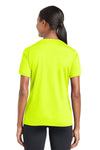 Sport-Tek LST340 Womens RacerMesh Moisture Wicking Short Sleeve V-Neck T-Shirt Neon Yellow Back