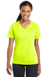 Sport-Tek LST340 Womens RacerMesh Moisture Wicking Short Sleeve V-Neck T-Shirt Neon Yellow Front