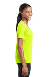 Sport-Tek LST340 Womens RacerMesh Moisture Wicking Short Sleeve V-Neck T-Shirt Neon Yellow Side