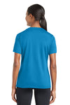 Sport-Tek LST340 Womens RacerMesh Moisture Wicking Short Sleeve V-Neck T-Shirt Pond Blue Back
