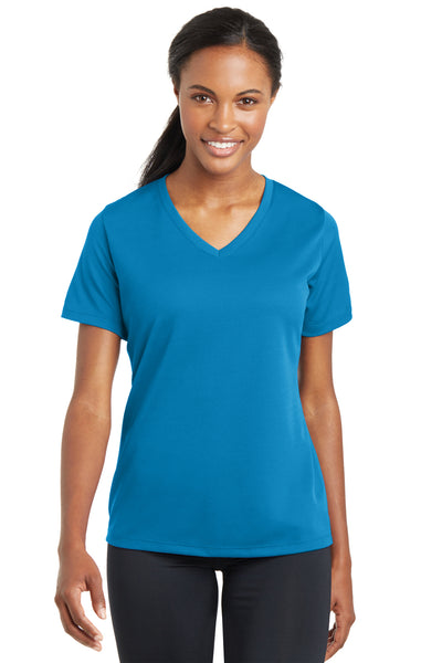 Sport-Tek LST340 Womens RacerMesh Moisture Wicking Short Sleeve V-Neck T-Shirt Pond Blue Front