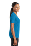 Sport-Tek LST340 Womens RacerMesh Moisture Wicking Short Sleeve V-Neck T-Shirt Pond Blue Side