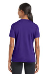 Sport-Tek LST340 Womens RacerMesh Moisture Wicking Short Sleeve V-Neck T-Shirt Purple Back