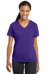 Sport-Tek LST340 Womens RacerMesh Moisture Wicking Short Sleeve V-Neck T-Shirt Purple Front