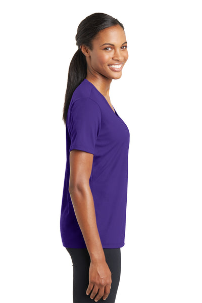 Sport-Tek LST340 Womens RacerMesh Moisture Wicking Short Sleeve V-Neck T-Shirt Purple Side