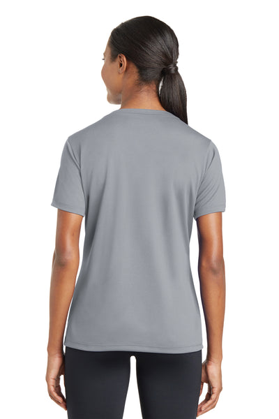 Sport-Tek LST340 Womens RacerMesh Moisture Wicking Short Sleeve V-Neck T-Shirt Silver Grey Back