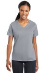 Sport-Tek LST340 Womens RacerMesh Moisture Wicking Short Sleeve V-Neck T-Shirt Silver Grey Front