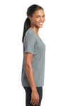 Sport-Tek LST340 Womens RacerMesh Moisture Wicking Short Sleeve V-Neck T-Shirt Silver Grey Side