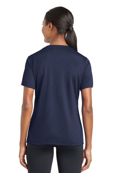 Sport-Tek LST340 Womens RacerMesh Moisture Wicking Short Sleeve V-Neck T-Shirt Navy Blue Back