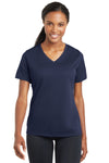 Sport-Tek LST340 Womens RacerMesh Moisture Wicking Short Sleeve V-Neck T-Shirt Navy Blue Front