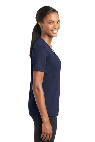 Sport-Tek LST340 Womens RacerMesh Moisture Wicking Short Sleeve V-Neck T-Shirt Navy Blue Side