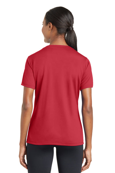 Sport-Tek LST340 Womens RacerMesh Moisture Wicking Short Sleeve V-Neck T-Shirt Red Back