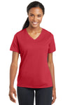 Sport-Tek LST340 Womens RacerMesh Moisture Wicking Short Sleeve V-Neck T-Shirt Red Front